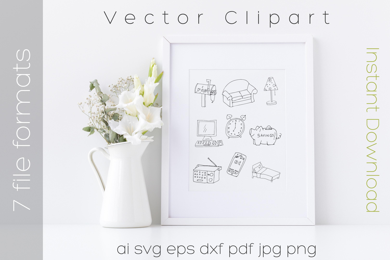 Furniture SVG Bundle Clipart Home Doodle Vector Cut Files example image 2