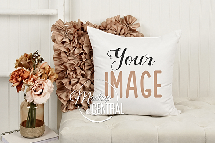 Pretty White Square Living Room Chair Mockup Pillow JPG example image 1