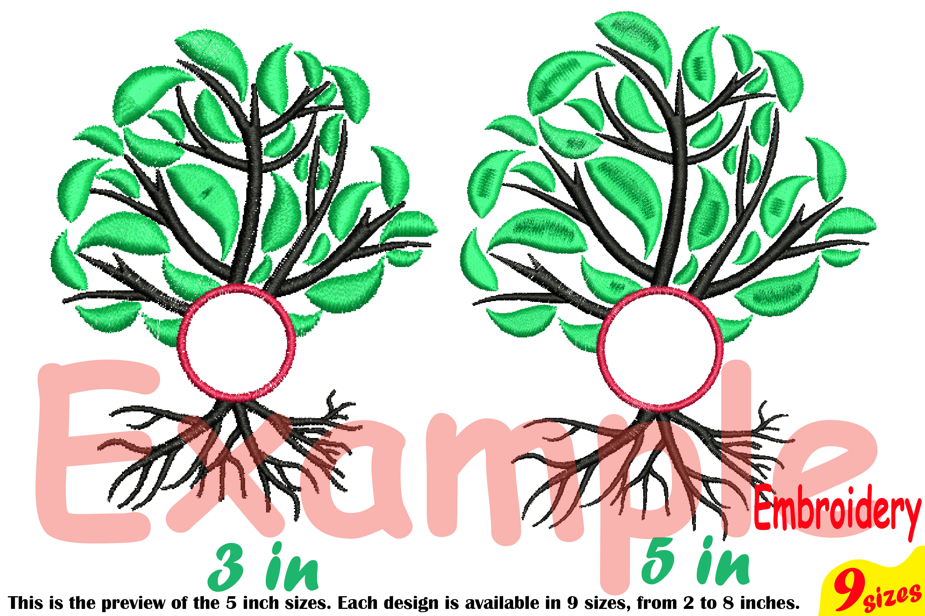 Family Tree Circle Embroidery Design Machine Instant Download Commercial Use digital Outline family love Frame Deep Roots Branches 206b example image 4