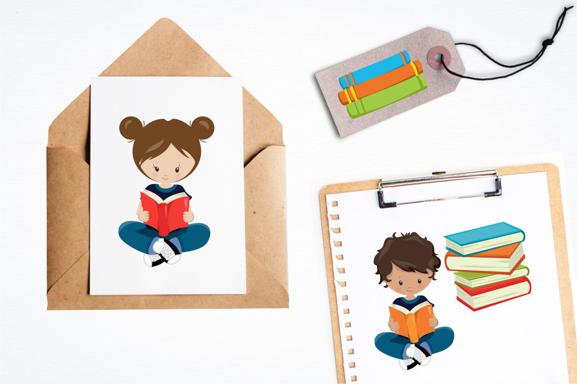 Reading Kids graphic and illustrations example image 5