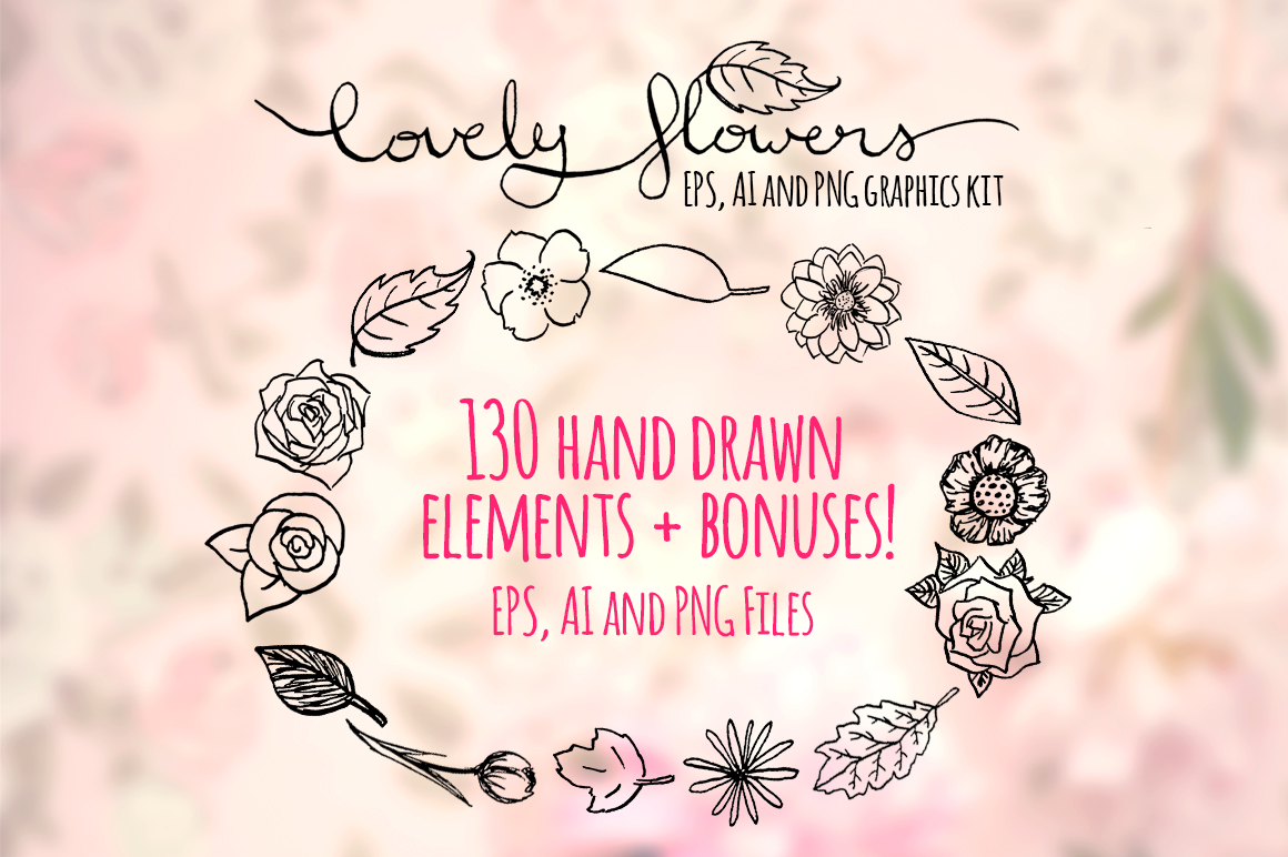 130 Lovely Spring Flowers Hand Drawn Graphics example image 1