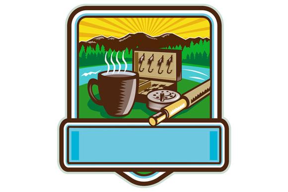 Mug Fly Tackle Bait Box Rod Reel Crest Woodcut example image 1