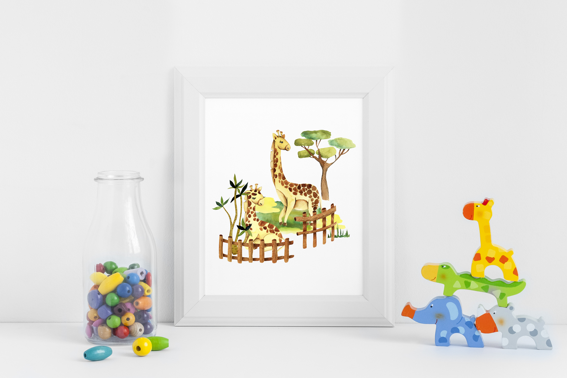 Zoo. Big watercolor collection. example image 11