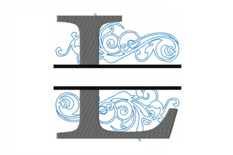 Embroidery Fonts Split Monogram, Monogram L, 4X4 5X7 6x10 example image 3