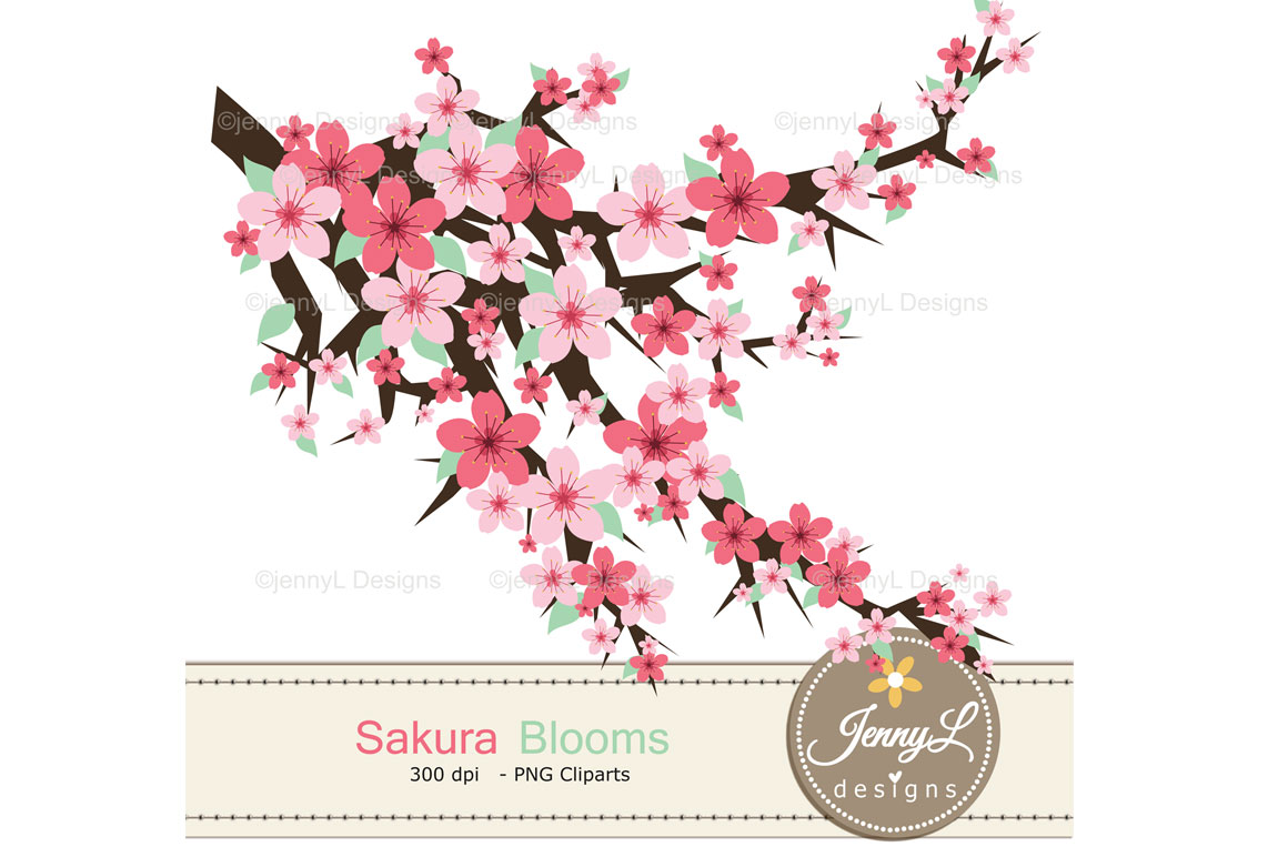 Cherry Blossoms Digital Papers and Sakura Clipart example image 4