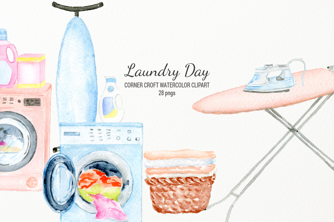 Watercolor laundry day clipart for instant download example image 5