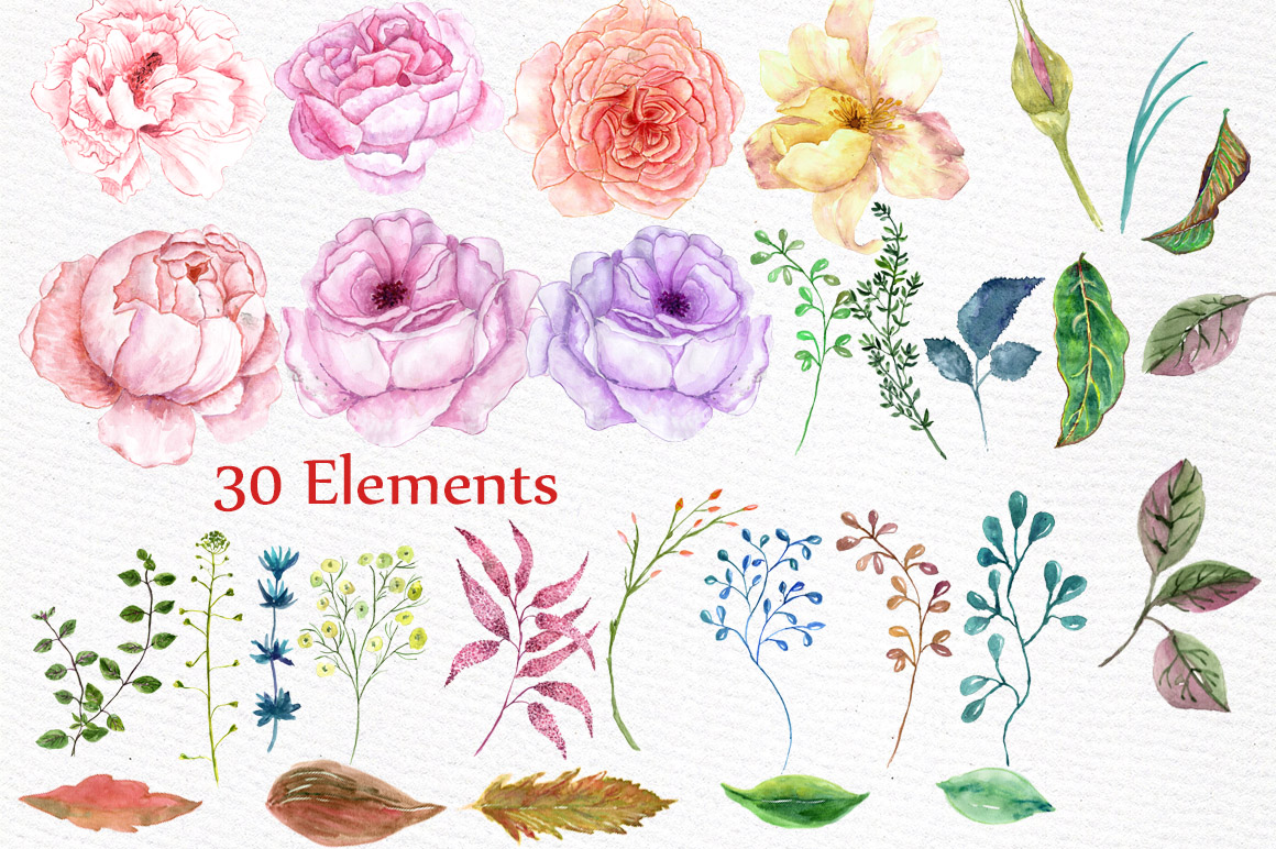 Watercolor wedding flowers clipart example image 2