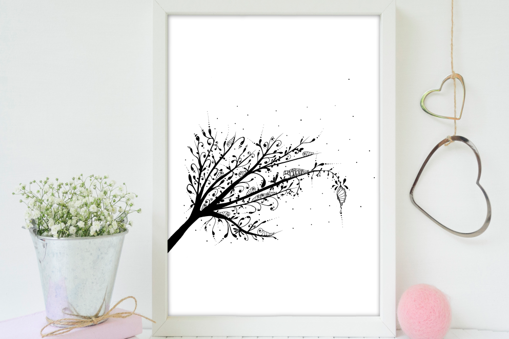 Larva Tree Ink Art, A1, SVG example image 5