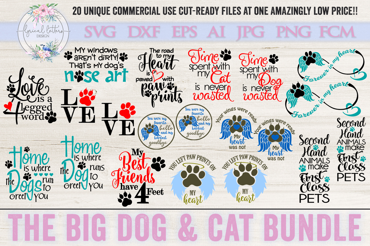 The Big Dog & Cat Bundle of 20 SVG Cut Files example image 1