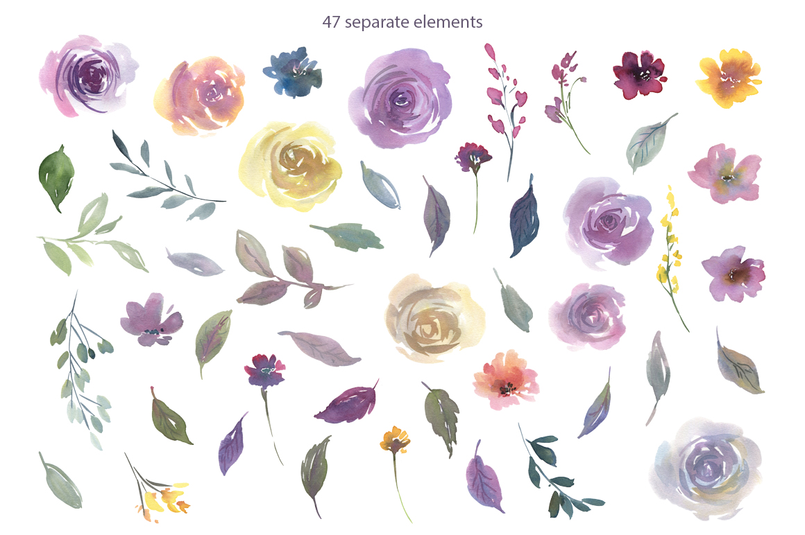 Watercolor Light Violet Flowers and Bouquets PNG example image 2