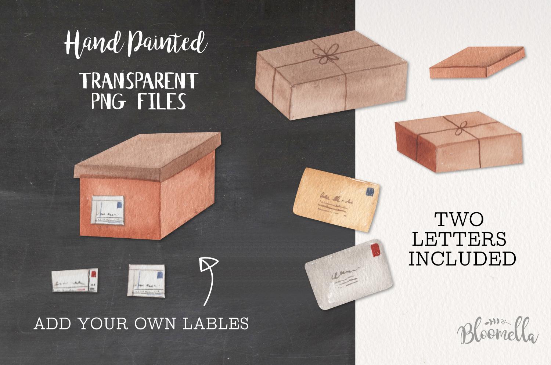Parcels Watercolor 16 Elements Boxes Postage Letters Labels example image 2