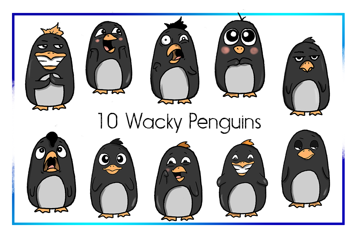 Holiday Clipart-Penguin Clipart-Arctic Clipart-Cartoon-Sticker Clipart-Digital-Penguin-Penguin Art-Digital-Penguin xmas Drama-Commercial example image 2