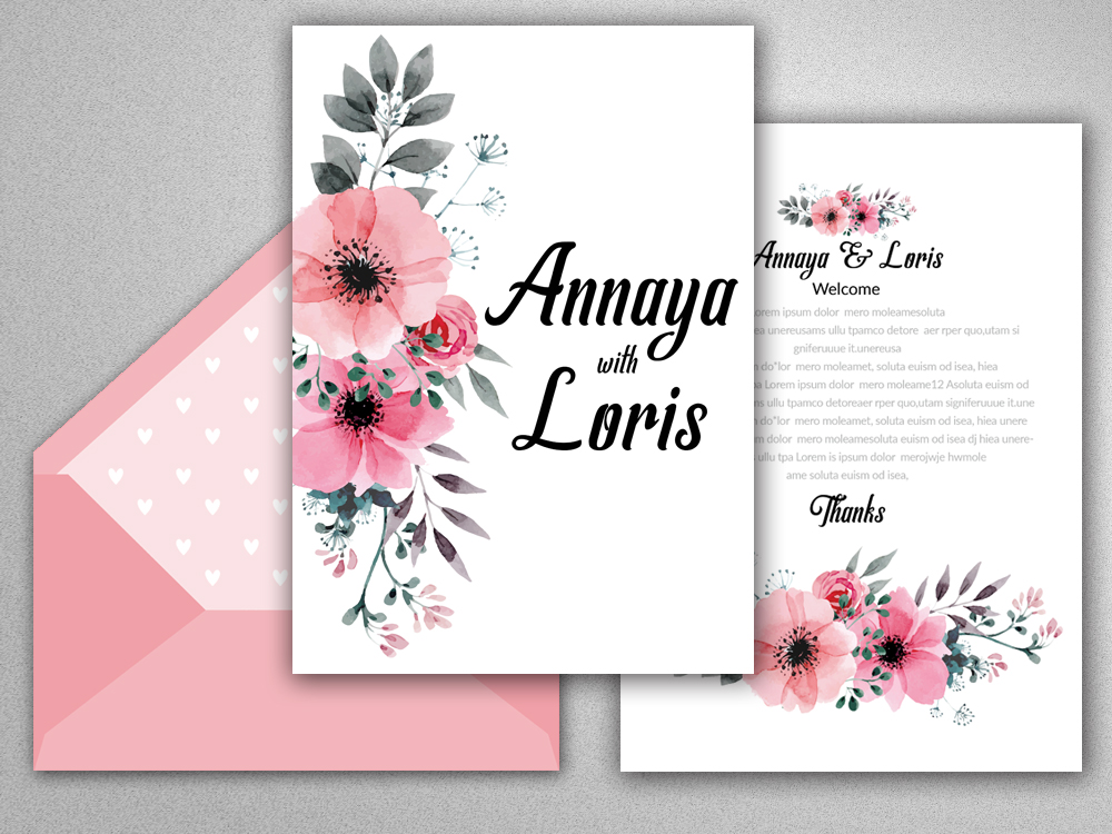 Double Sided Wedding Invitation Card example image 2