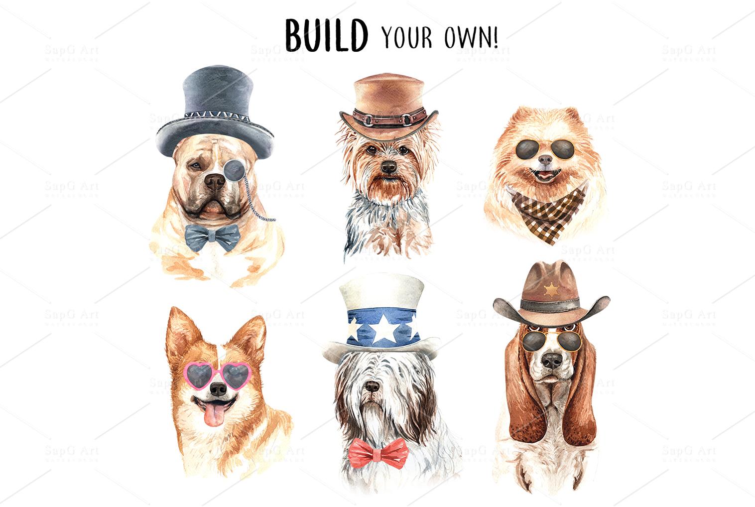 Dog watercolor. Pet clipart Set C example image 6