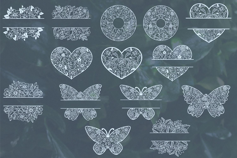 Love Floral Papercut Bundle- 14 SVG cut files example image 2
