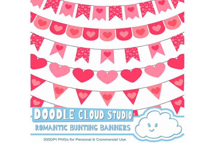 Romantic Bunting Banners Cliparts, Valentine's Day Pink, Fuchsia Bunting Flags, heart patterns, Instant Download, Personal & Commercial Use example image 1