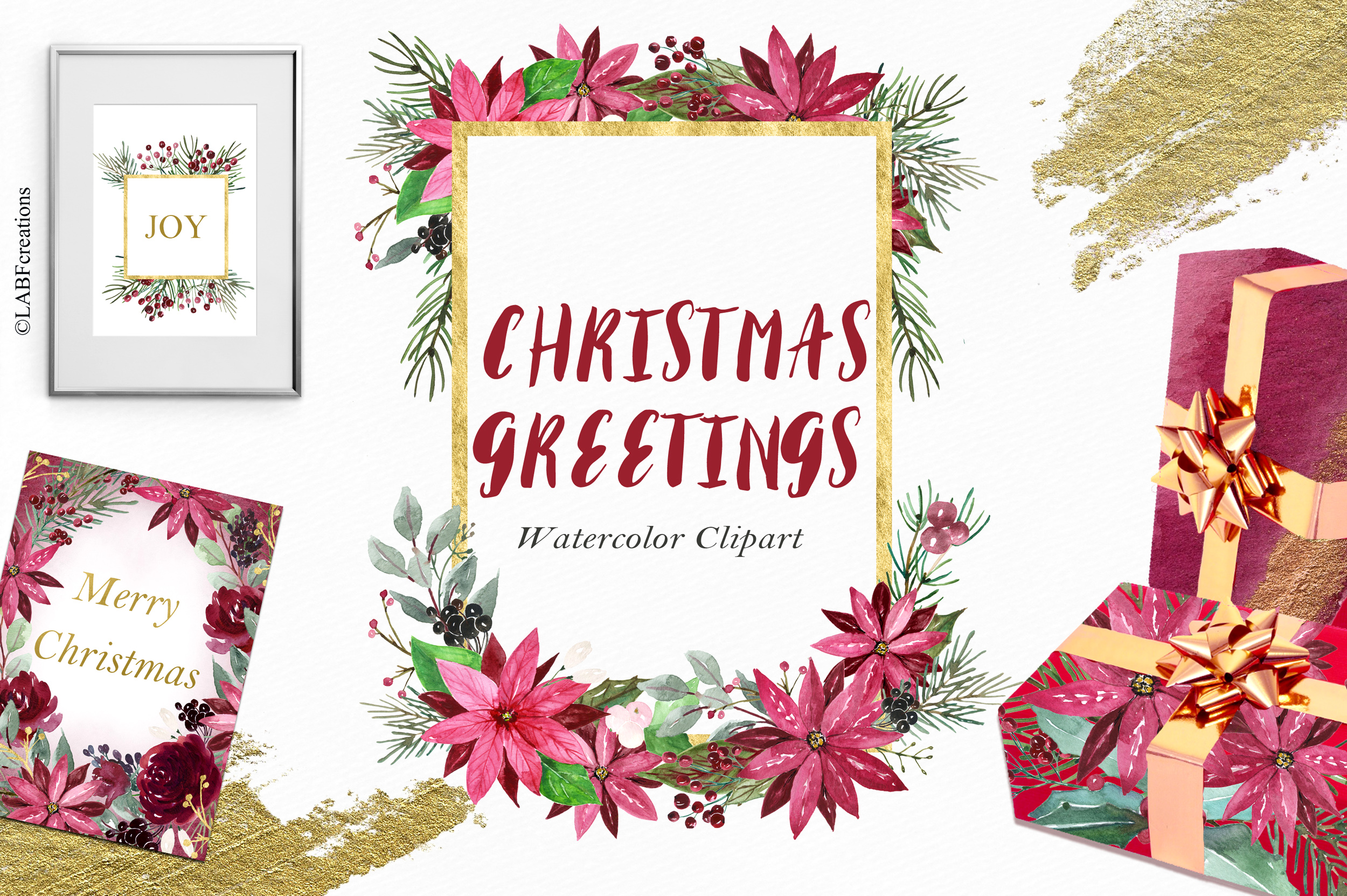 Christmas greetings. Hand drawn watercolor collection. example image 9