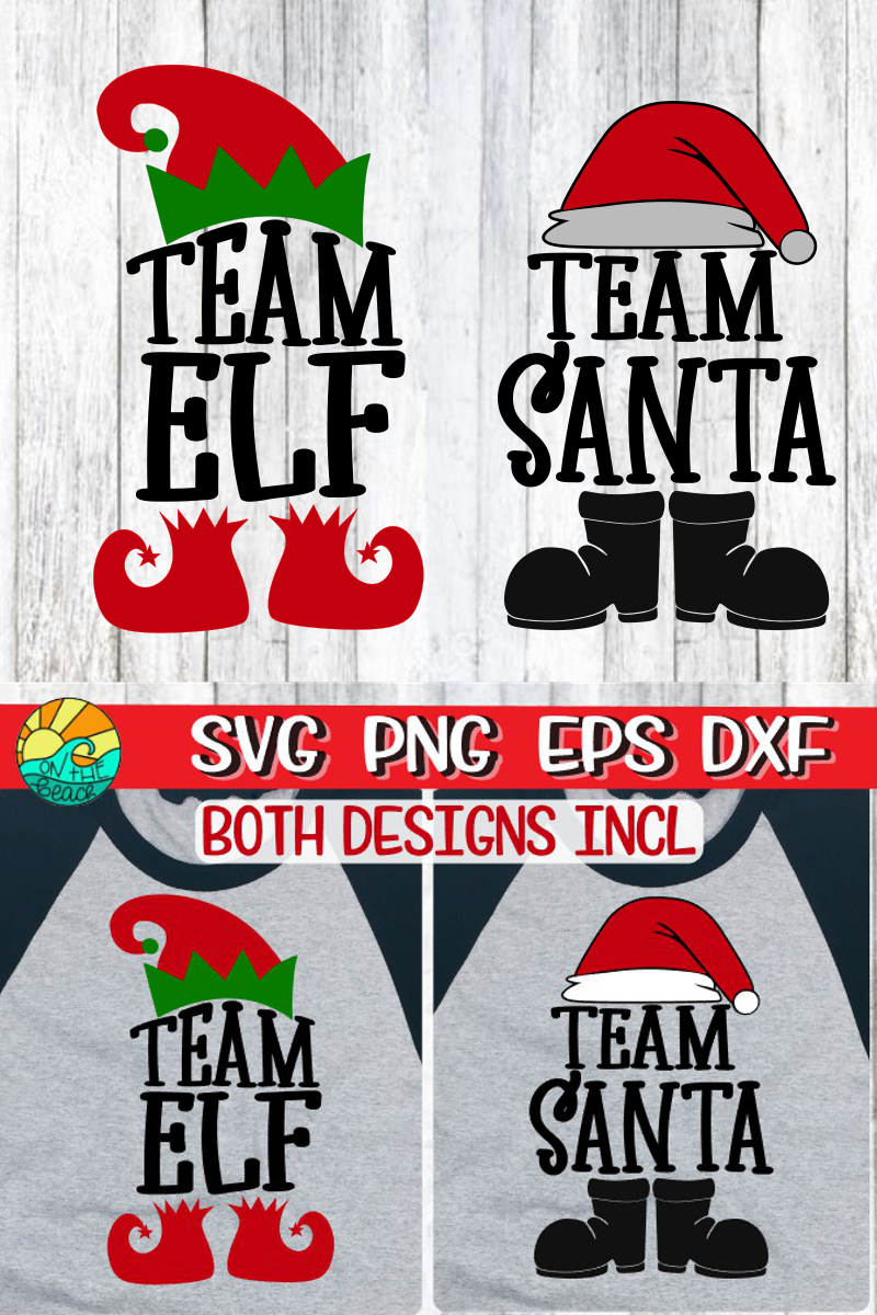 Team Santa - Team Elf - Both Designs Included- Christmas SVG example image 2