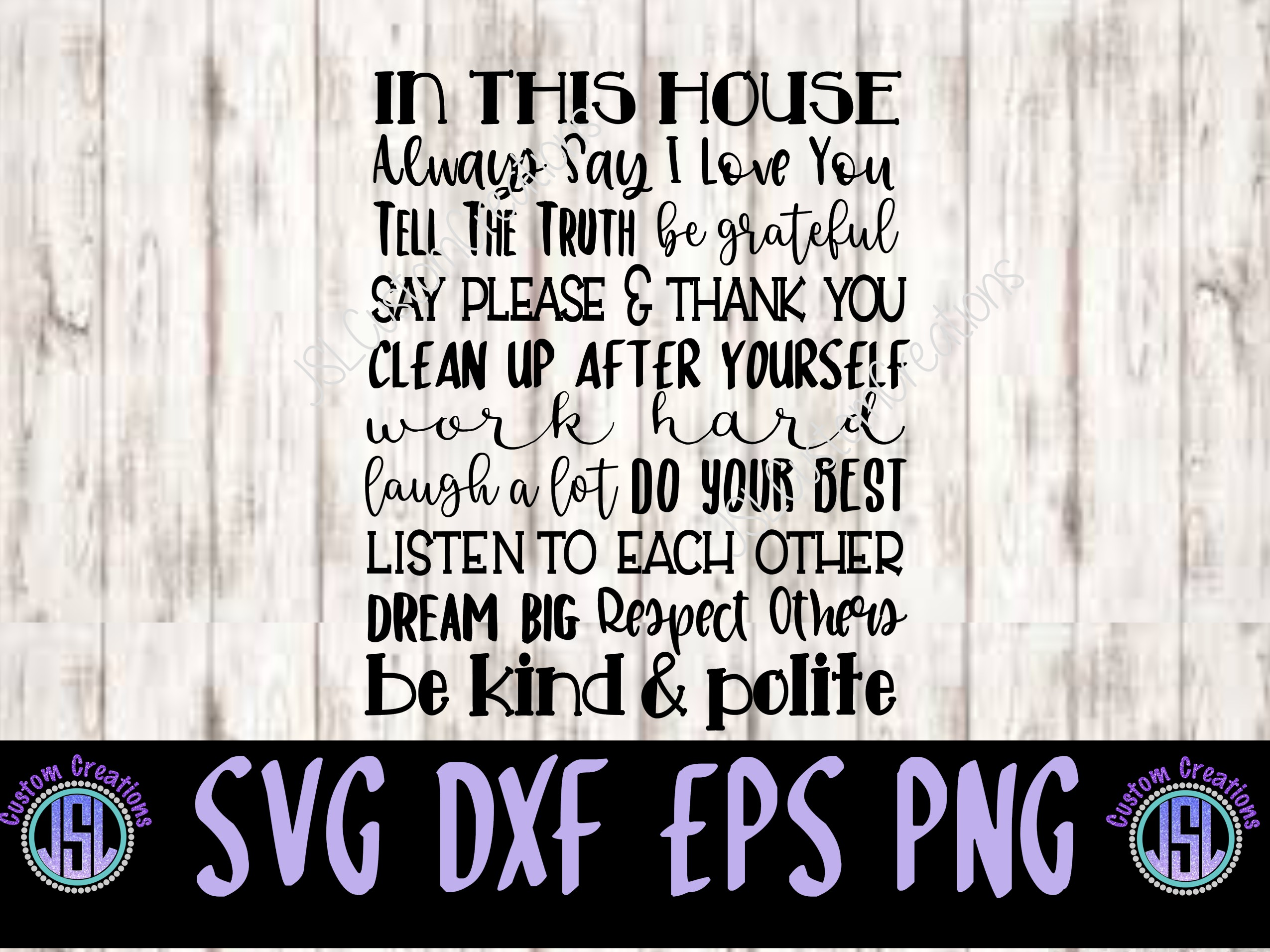 In This House Quote SVG, EPS, DXF, PNG Digital Download example image 1