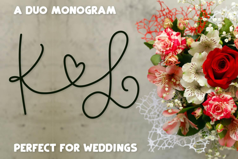Couple Monoline Monogram Font - Perfect For Weddings! example image 6