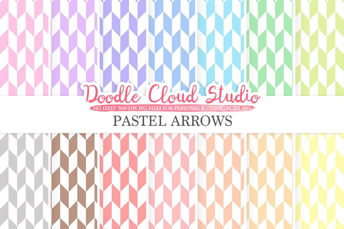 Pastel Arrows digital paper, Geometric Arrows patterns, Digital arrows pastel background, Instant Download, for Personal & Commercial Use example image 1