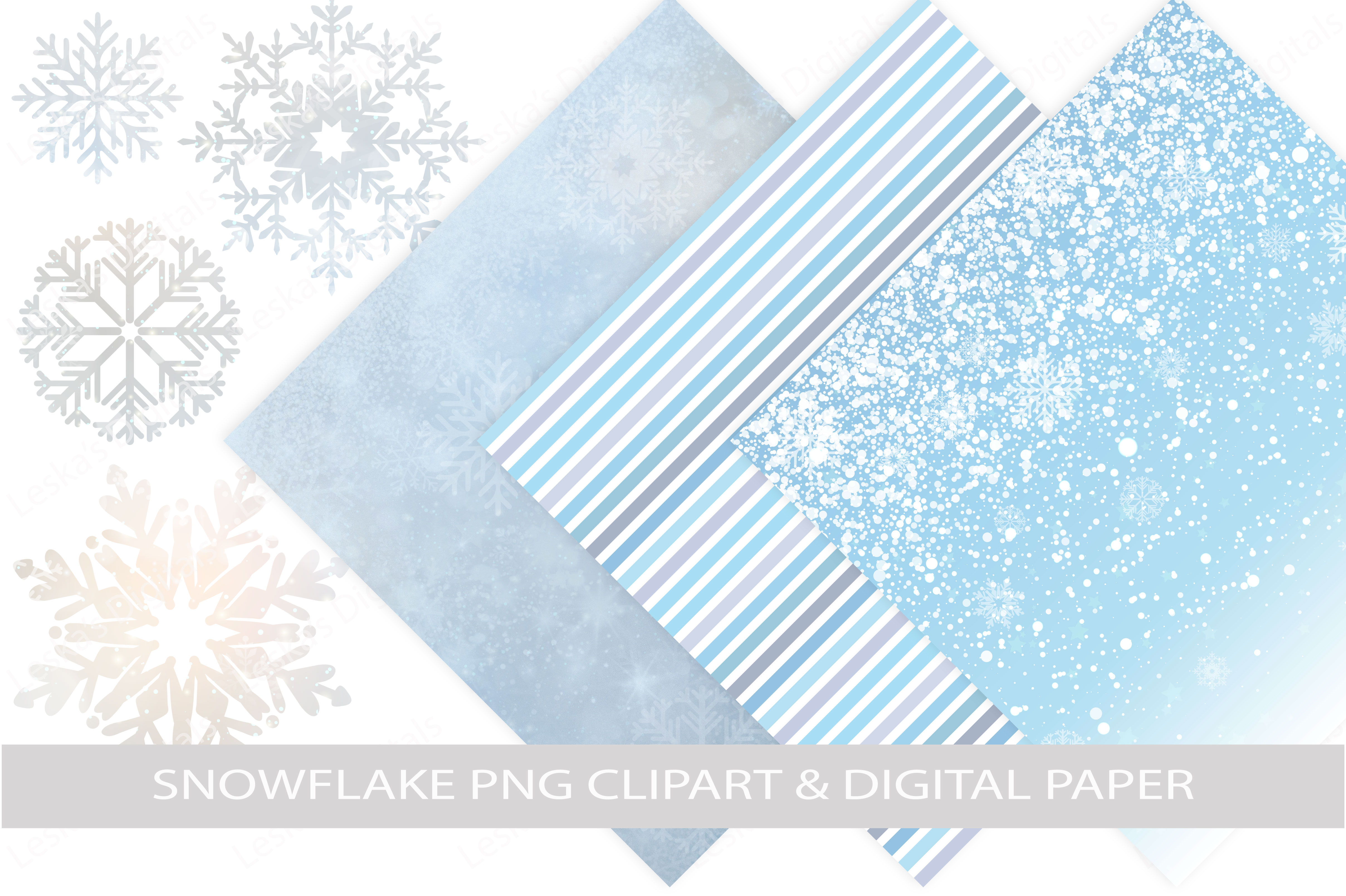 Snowflake Clipart & Winter Digital Paper example image 1