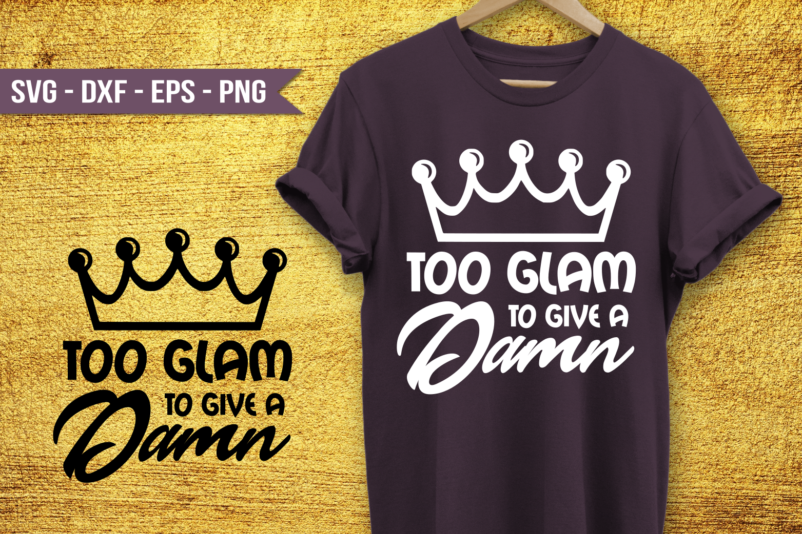 Too Glam to give a damn SVG example image 1