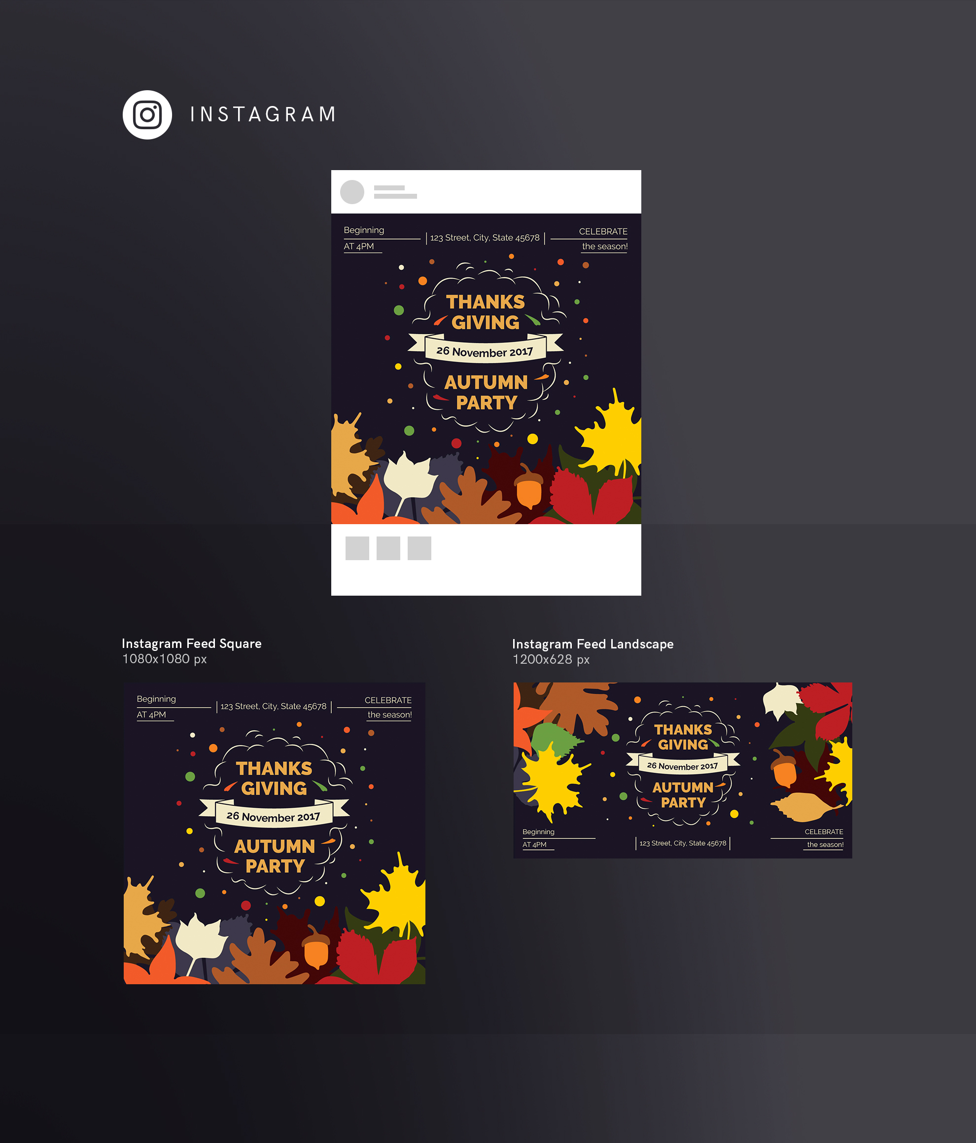 Thanksgiving Autumn Party Design Templates Bundle example image 15