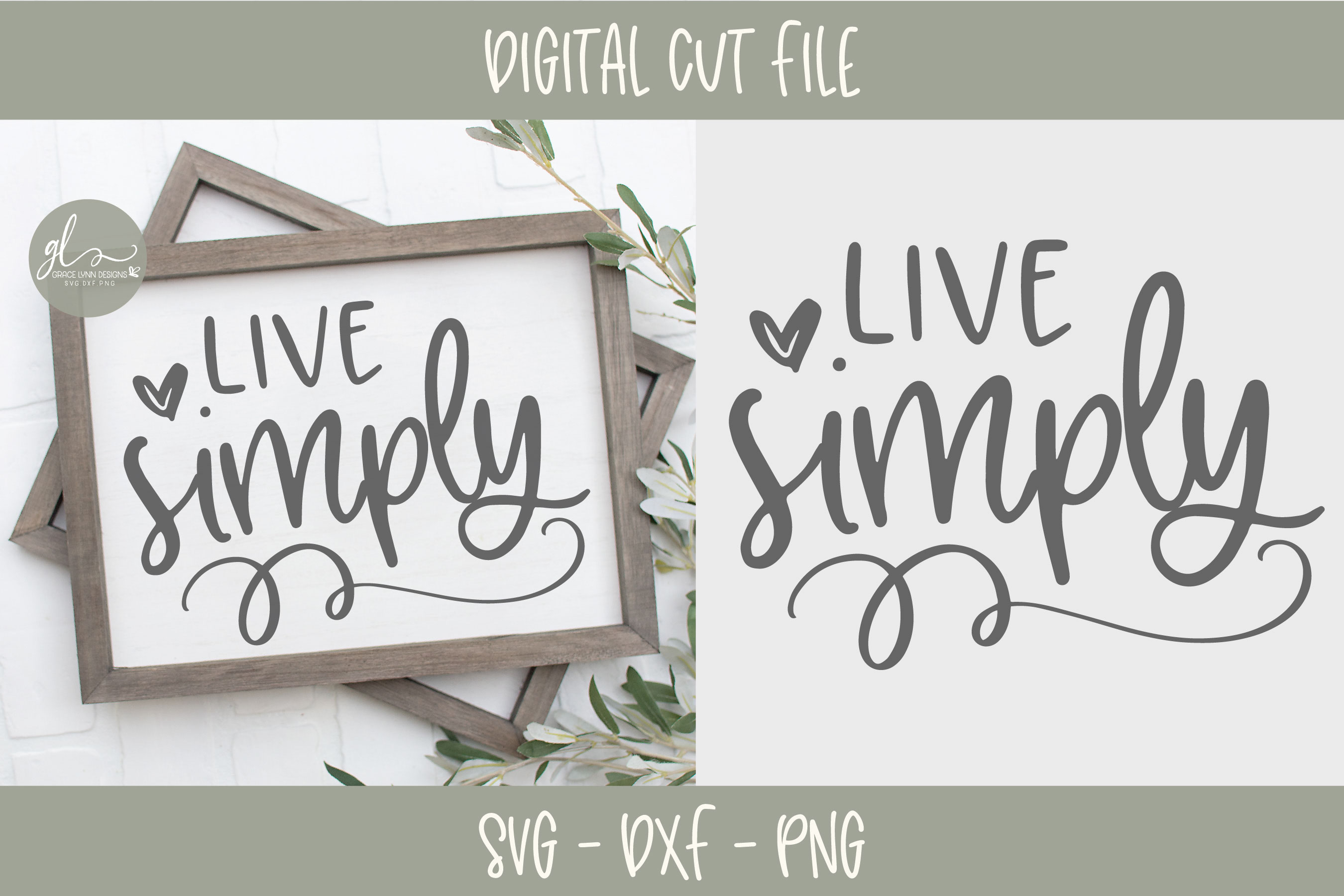 Live Simply - Digital Cut File - SVG, DXF & PNG example image 1