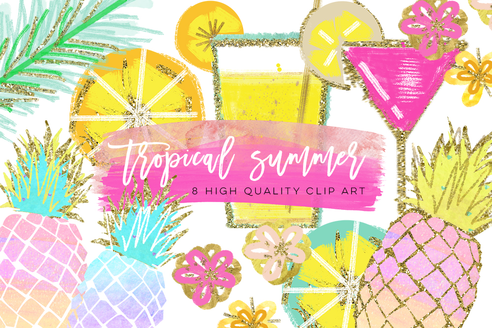 Tropical Clip Art, Watercolor Summer Clipart, Pineapple Summer Clipart, Beach Clipart, Lemon Clipart, Pineapple Clipart, signature drink example image 2