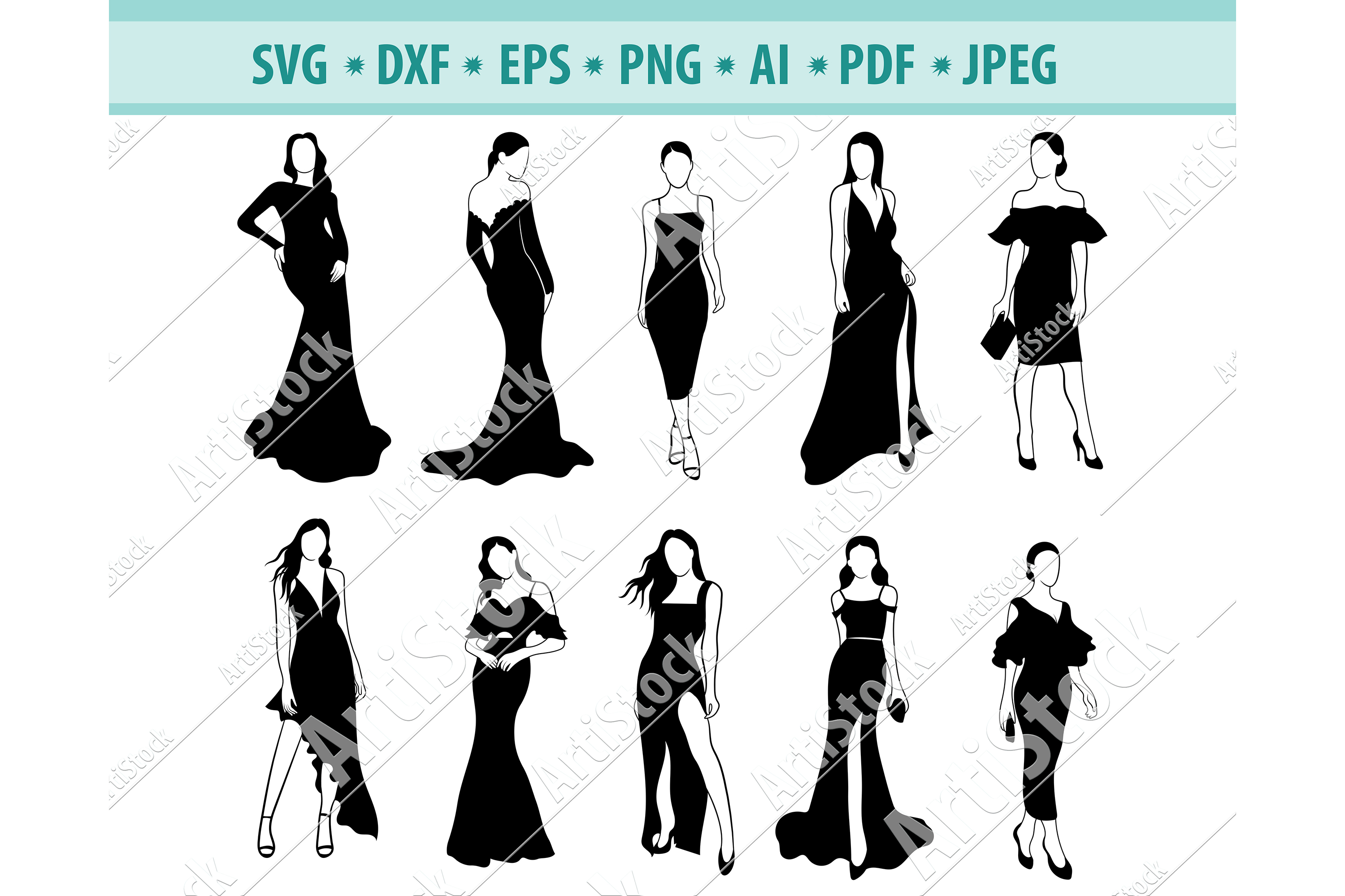 Woman SVG, Retro SVG, Fashion dress, Girl svg, Dxf, Png, Eps example image 1