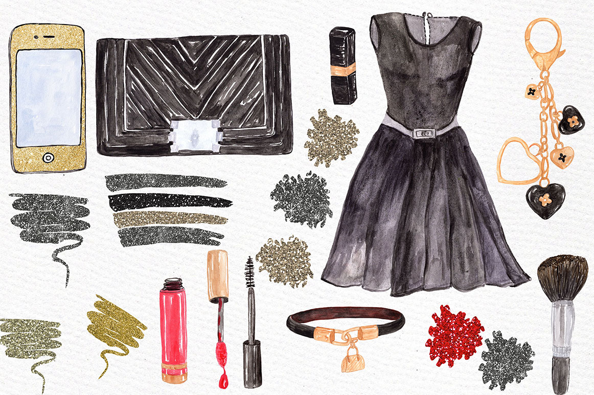 Watercolor fashion clipart example image 3