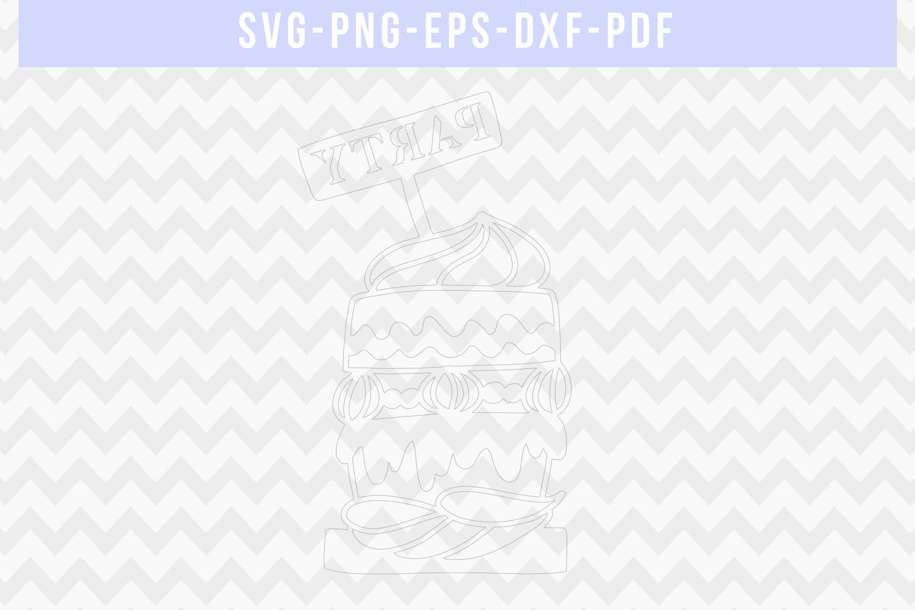 Cake Papercut Template, Birthday Party Invitation SVG, PDF example image 2