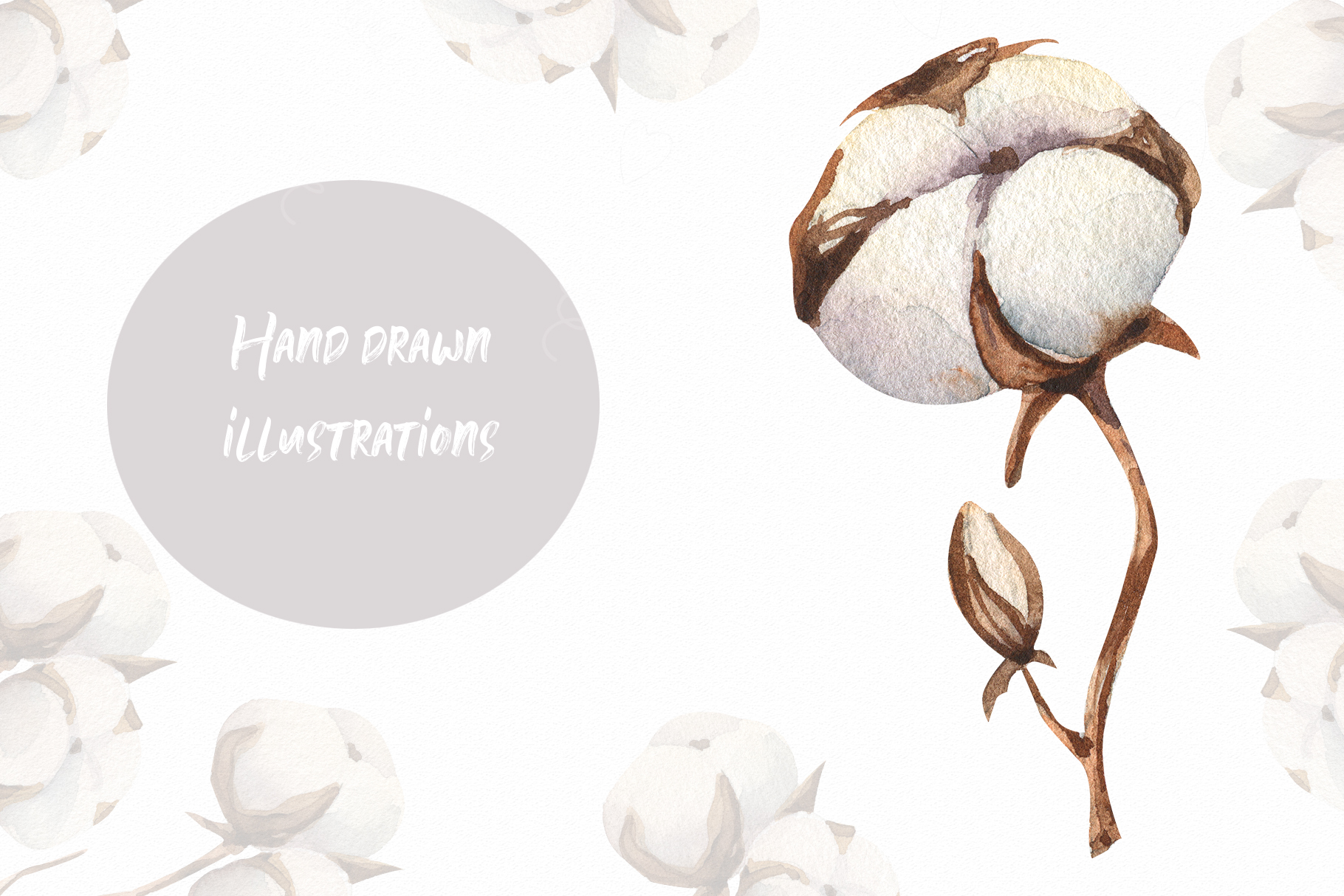 Watercolour Cotton clipart, branches winter watercolor example image 4