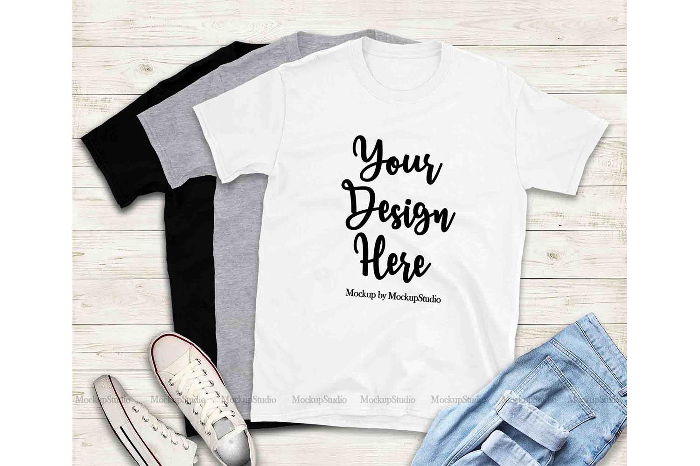 Tshirt Mockup Bundle, Unisex Shirt Mock Up Basic Bundle example image 2