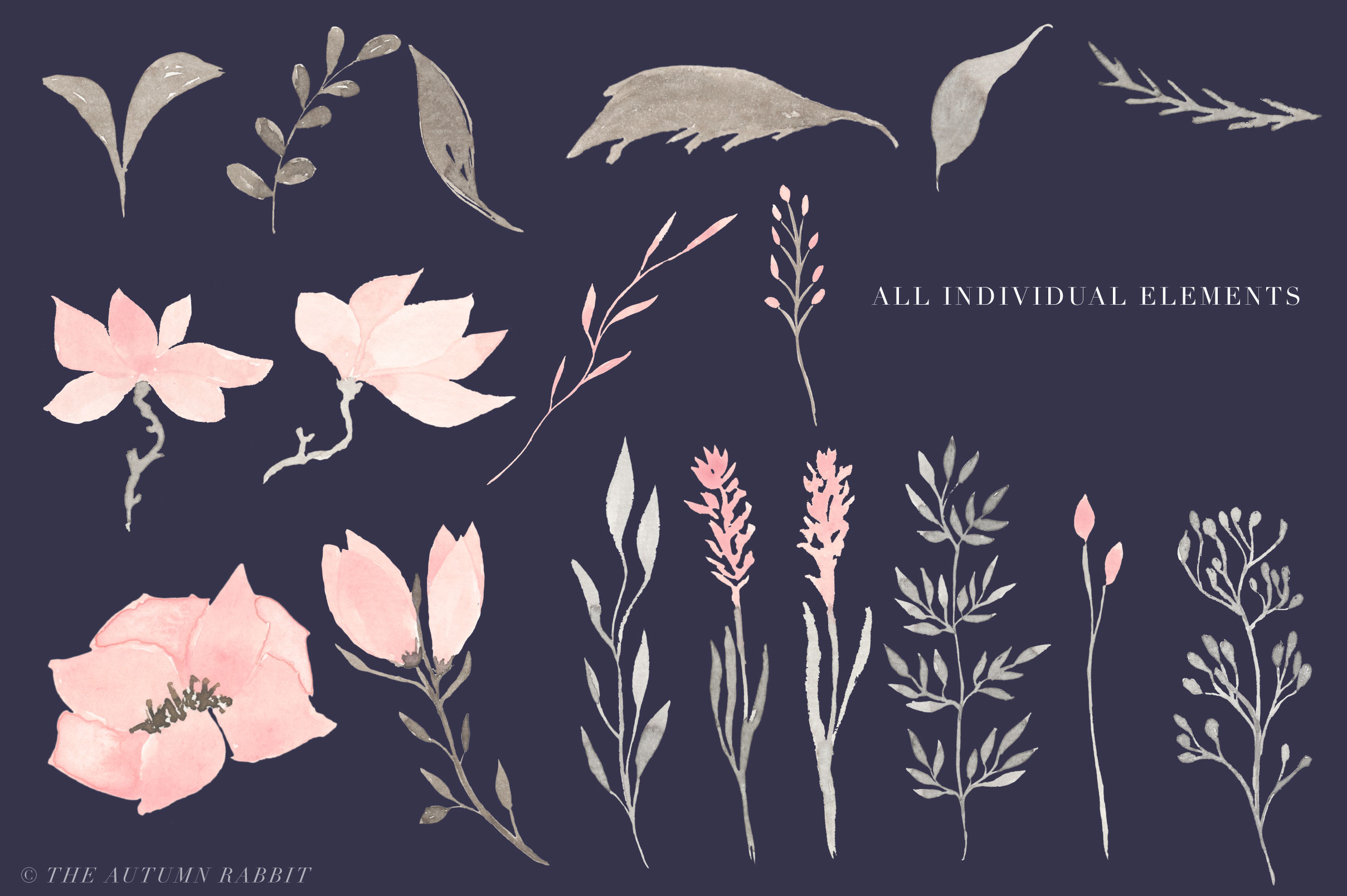 Watercolor Floral Clipart - Harmony example image 4