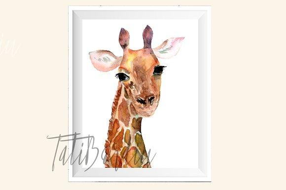 Watercolor Giraffe Print + Clip Art example image 1