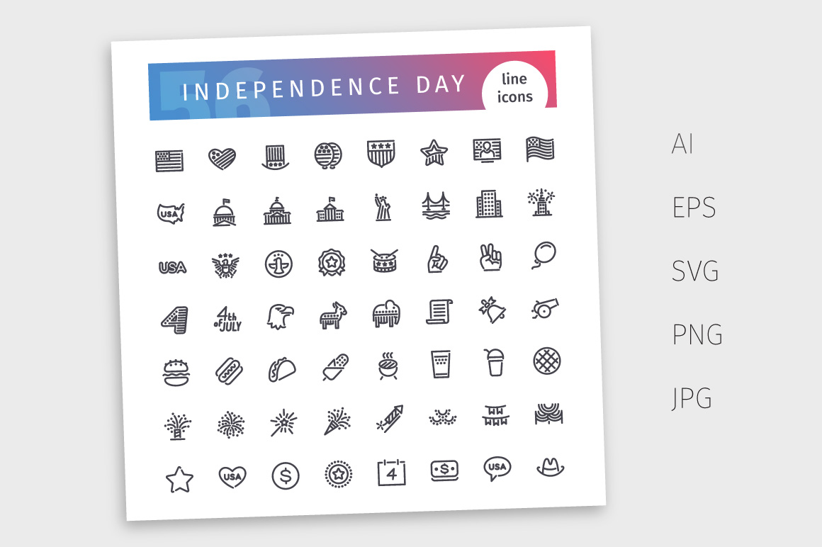 USA Independence Day Line Icons Set example image 4