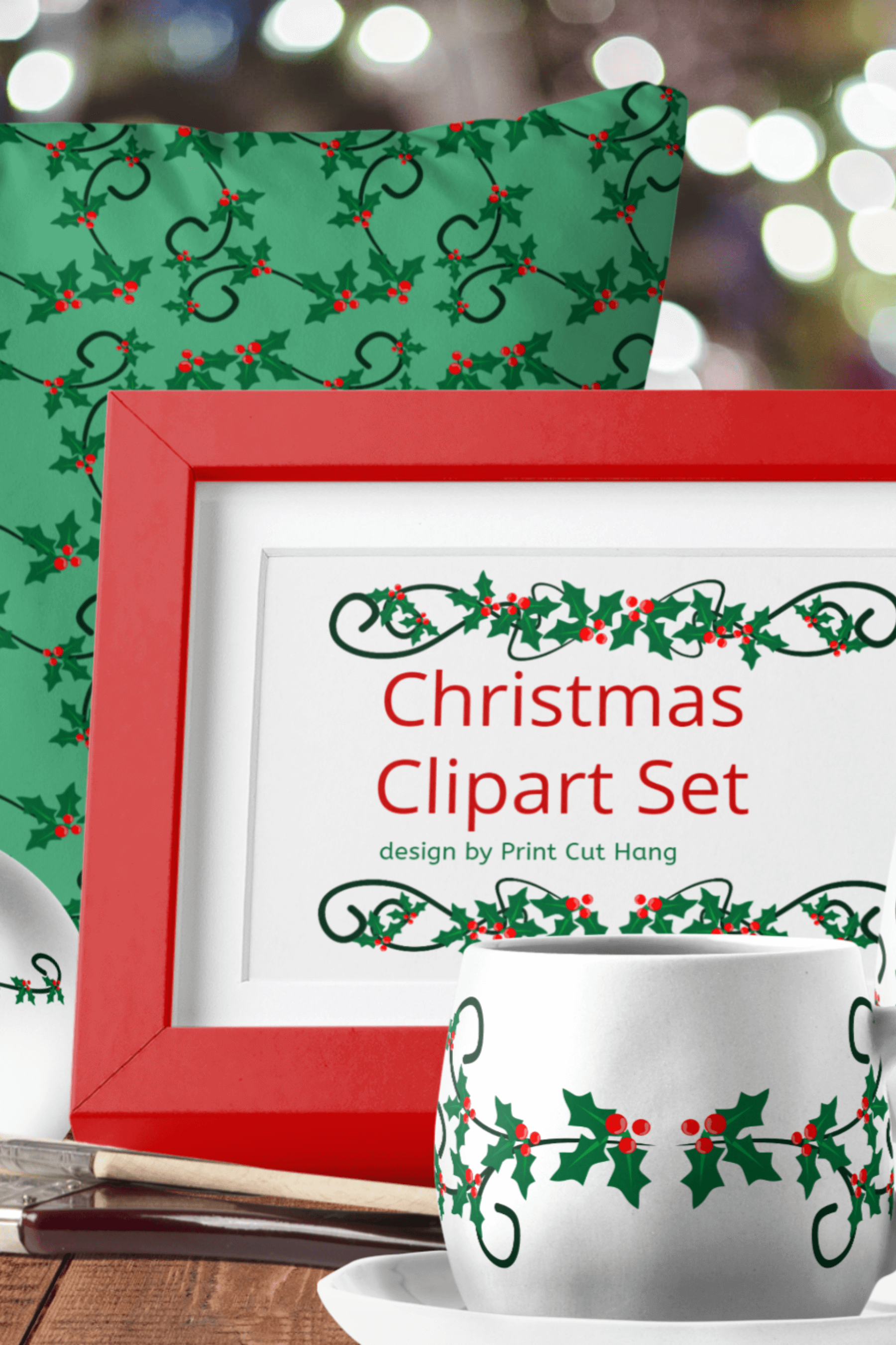 Christmas Holly Berries Divides Clipart Set Download example image 3