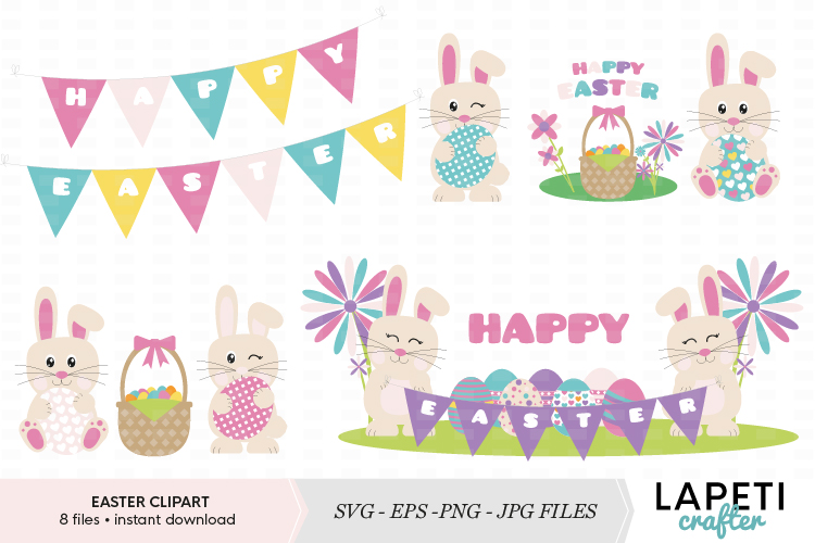 Cute Easter clipart set example image 1