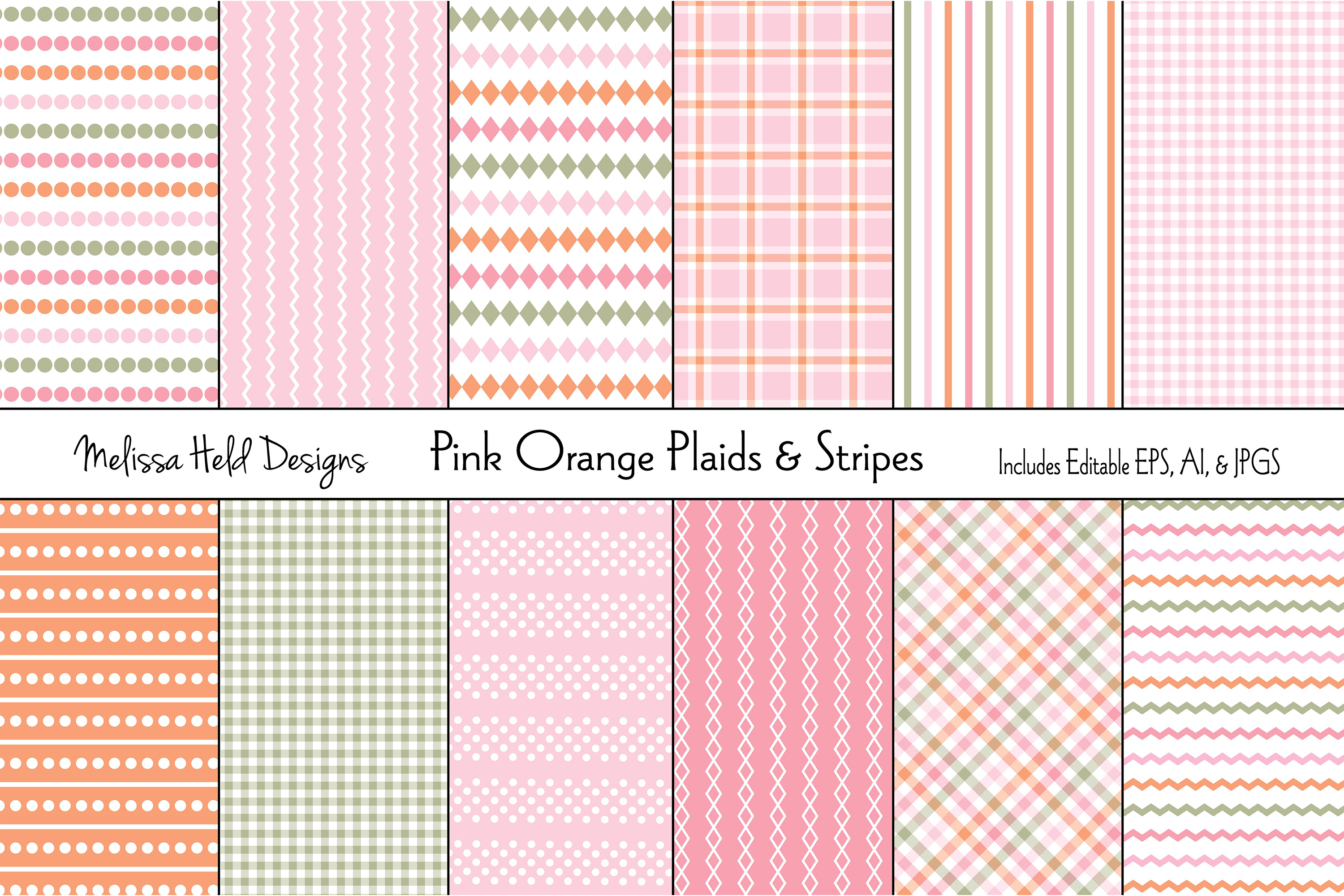 Pink and Orange Plaids & Stripes example image 1