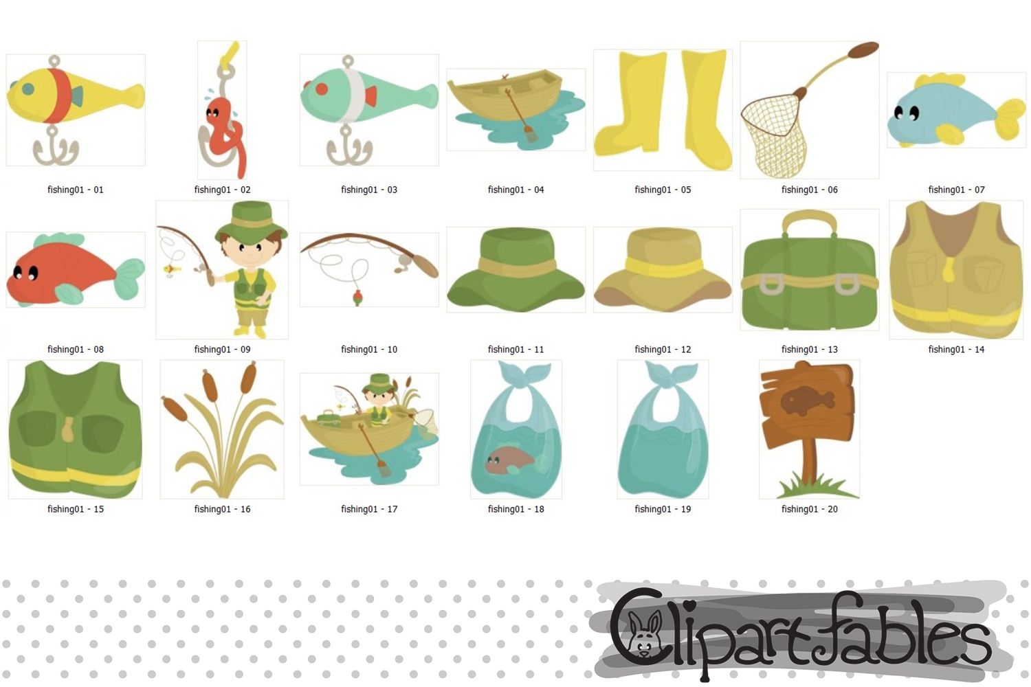 FISHING clipart, Cute fisherman clip art, Instant Download example image 2