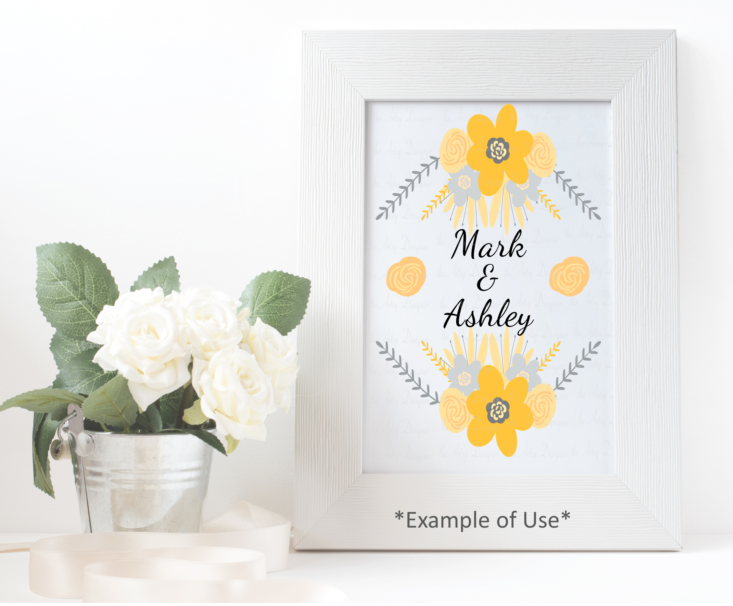 Yellow and Gray Flowers Botanical Sublimation Clipart Bundle example image 4