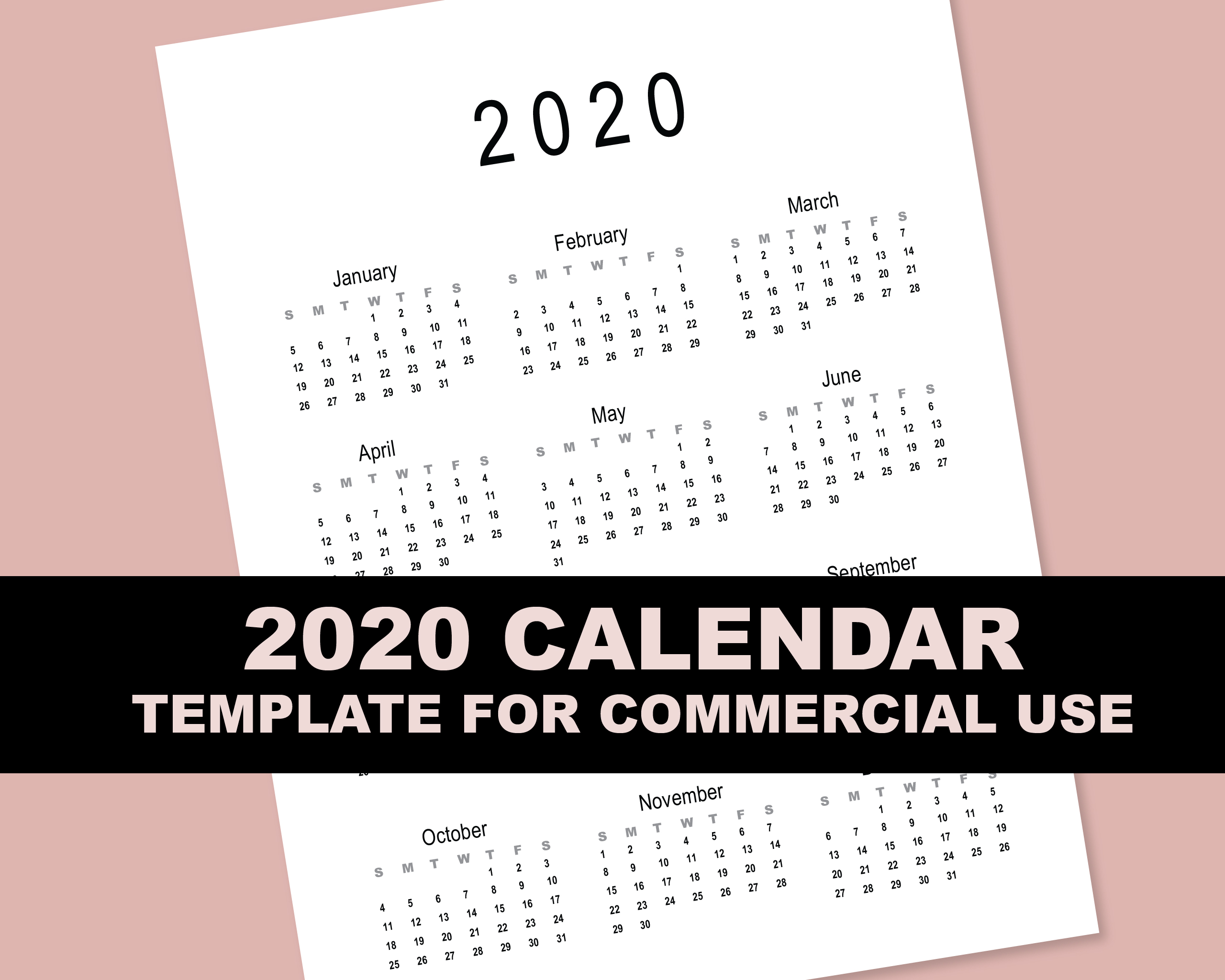 2020 Calendar Template for Commercial Use - PSD, EPS, PDF example image 7
