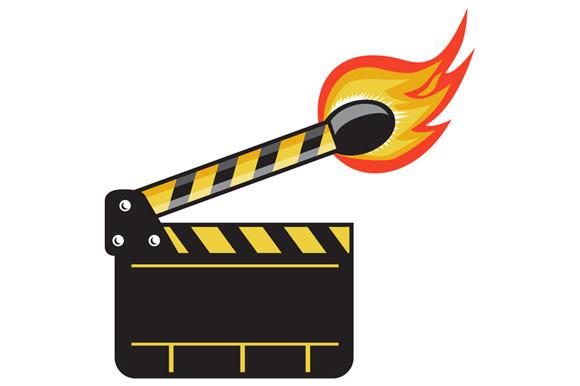 Clapper Board Match Stick On Fire Retro example image 1