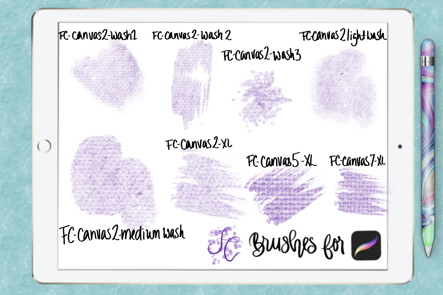 FC-canvas set 1 brushes for PROCREATE example image 3
