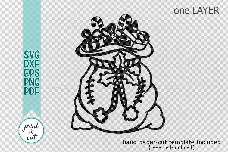 Christmas Santa sack paper machine cut template svg dxf file example image 2