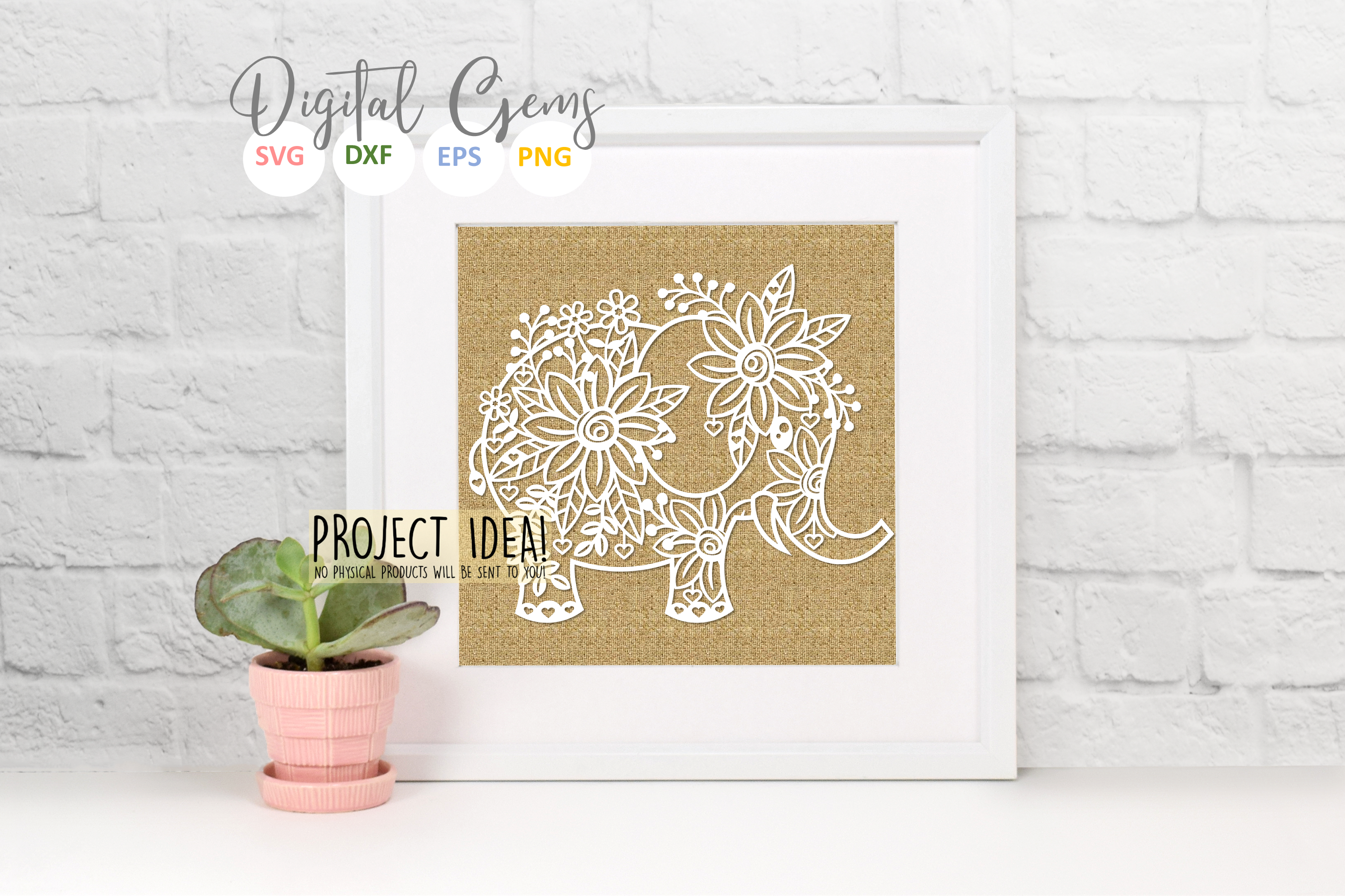 Elephant paper cut design SVG / DXF / EPS / PNG files example image 7