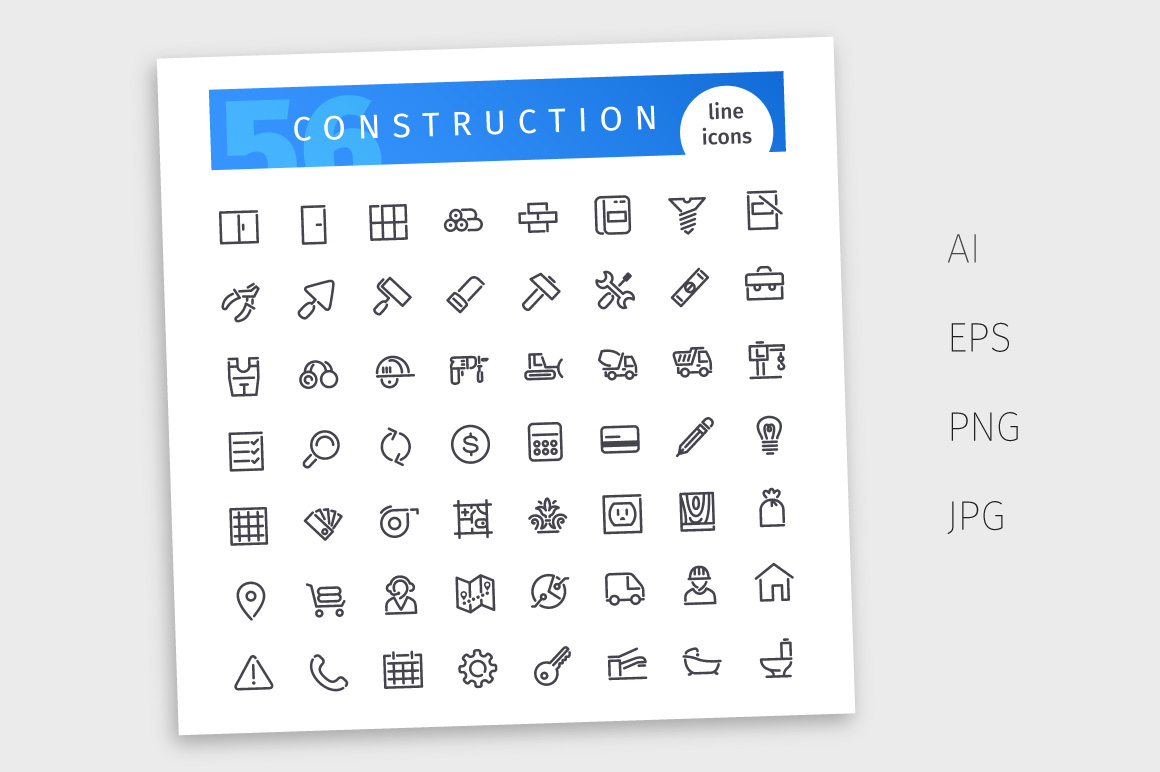 Construction Line Icons Set example image 4