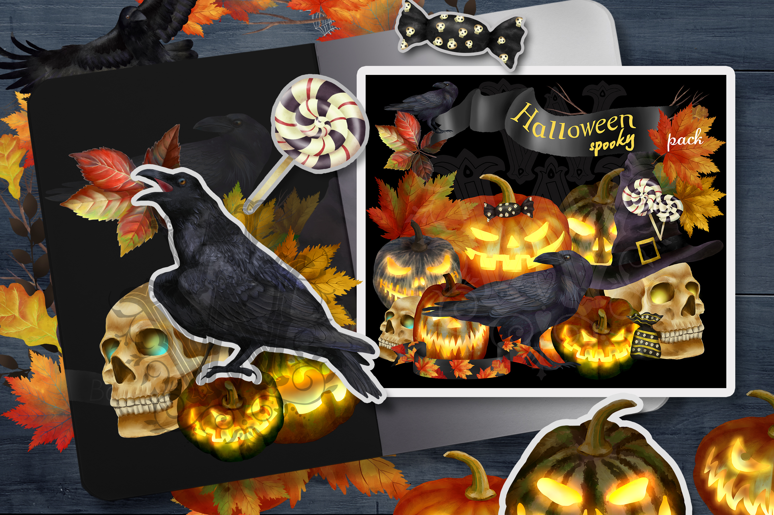 Spooky Halloween clipart with pumpkins, skull and ravens example image 1
